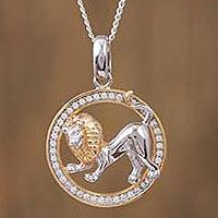 Gold-accented sterling silver pendant necklace, 'Celestial Lion' - Leo Gold Plated Sterling Silver Pendant Necklace