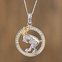 Gold-accented sterling silver pendant necklace, 'Celestial Ram' - Aries Gold Plated Sterling Silver Pendant Necklace