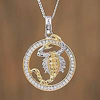 Gold-accented sterling silver pendant necklace, 'Celestial Scorpion' - Scorpio Gold Accent Sterling Silver Pendant Necklace