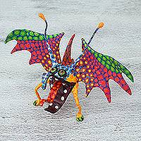 Papier mache alebrije sculpture, 'Bright Bat' - Hand Sculpted Multicolor Bat Papier Mache Alebrije