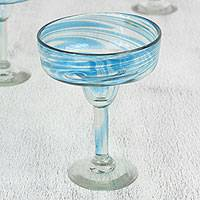 Blown glass margarita glasses, 'Cerulean Threads' (set of 6) - Handblown Recycled Glass Margarita Glasses (6) from Mexico