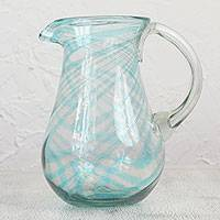 Blown glass pitcher, 'Cerulean Threads' - Handblown Recycled Glass Pitcher in Cerulean from Mexico