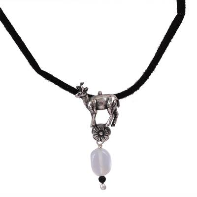Moonstone and Agate Adjustable Deer Necklace from Mexico