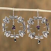 Amethyst and agate dangle earrings, 'Dragonfly Jungle' - Amethyst and Agate Dragonfly Dangle Earrings from Mexico