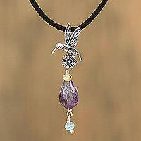 Amethyst pendant necklace, 'Sparkling Hummingbird' - Adjustable Amethyst Hummingbird Pendant Necklace from Mexico