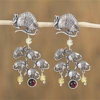 Garnet and amber dangle earrings, 'Armadillo Family' - Garnet and Amber Armadillo Dangle Earrings from Mexico