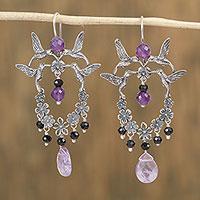Amethyst and agate dangle earrings,