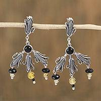 Agate and amber dangle earrings,