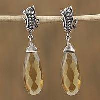 Amber dangle earrings, 'Maize of My Country' - Faceted Amber Maize Dangle Earrings from Mexico