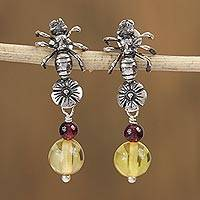 Amber and garnet dangle earrings, 'Floral Ants' - Amber and Garnet Ant Dangle Earrings from Mexico
