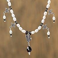 Agate and cultured pearl convertible necklace,