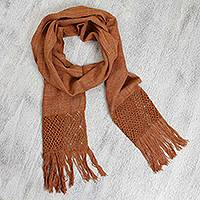 Cotton scarf, 'Amber Waves' - Cotton Fringed Scarf in Shades of Brown with Chevron Pattern