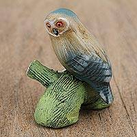 Ceramic figurine, 'Owl on a Log' - Ceramic Figurine of an Owl on a Log from Mexico