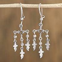 Sterling silver dangle earrings, 'Holy Flight' - Artisan Crafted Sterling Silver Cross Earrings from Mexico