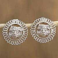 Sterling silver button earrings, 'Framed Faces' - Artisan Crafted Sterling Silver Button Earrings from Mexico