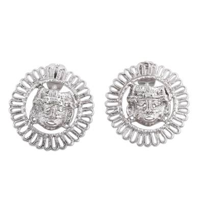 Artisan Crafted Sterling Silver Button Earrings from Mexico