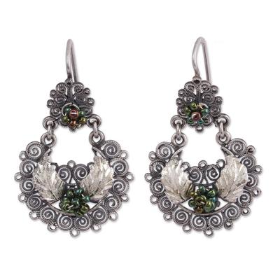 Sterling Silver Green Glass Seed Bead Dangle Earrings