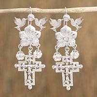 Sterling silver chandelier earrings, 'Faith and Nature' - Sterling Silver Dove Flower and Cross Chandelier Earrings