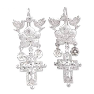 Sterling Silver Dove Flower and Cross Chandelier Earrings