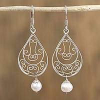 Cultured pearl filigree dangle earrings, 'Ornate Tears' - Sterling Silver and Cultured Pearl Tear Drop Dangle Earrings