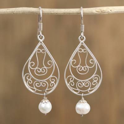 Cultured pearl filigree dangle earrings, Ornate Tears