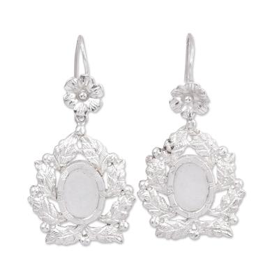 Sterling Silver Flower and Leaves Dangle Earrings