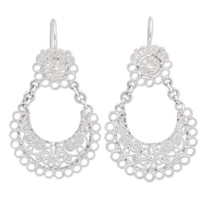 Sterling Silver Floral and Scrollwork Dangle Earrings