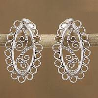Sterling silver filigree drop earrings, 'Intricate Lace Ovals' - Mexican Sterling Silver Intricate Filigree Drop Earrings