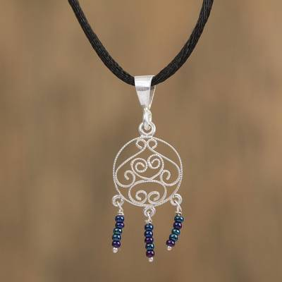 Glass beaded filigree pendant necklace, 'Curves in the Sky' - Glass Beaded Filigree Pendant Necklace from Mexico