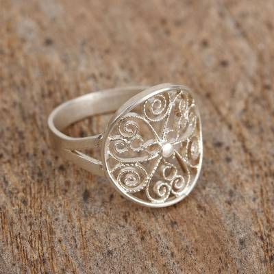 silver sparkly ring grazing - Sterling Silver Filigree Cocktail Ring from Mexico