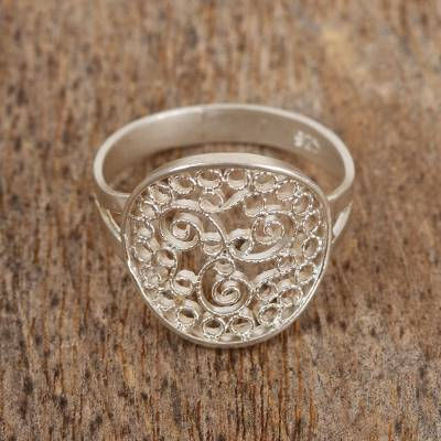 pearl necklace - Sterling Silver Cocktail Ring with Paisley Swirl Motif