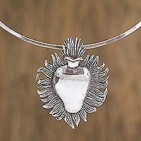 Sterling silver pendant collar necklace, 'Silver Sacred Heart' - Sterling Silver Sacred Heart Pendant Collar Necklace