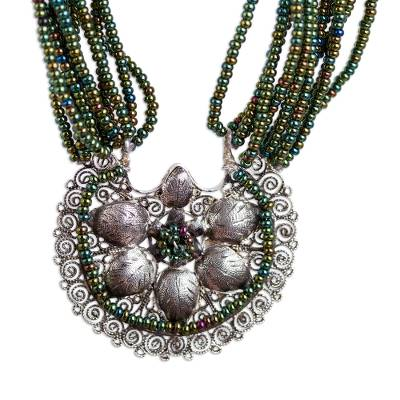 Sterling Silver Flower Iridized Green Glass Bead Necklace