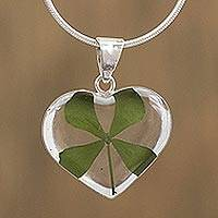 Natural leaf pendant necklace, 'Clover Heart' - Heart-Shaped Natural Clover Pendant Necklace from Mexico