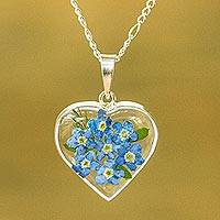 Natural flower pendant necklace, 'Blue Flowery Heart' - Heart-Shaped Natural Flower Pendant Necklace from Mexico