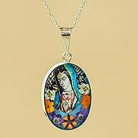 Natural flower pendant necklace, 'Flowers for Guadalupe' - Virgin of Guadalupe Natural Flower and Silver Chain Necklace