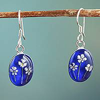 Natural flower dangle earrings, 'Three Flowers' - Oval Natural Flower Dangle Earrings from Mexico