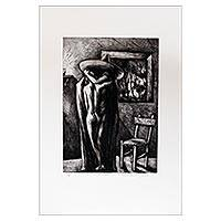 'The Blanket' (2005) - Limited Edition Signed Aquatint Etching Print from Mexico
