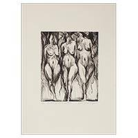 'Hell, Purgatory and Paradise' - Limited Edition Black & White Female Nudes Aquatint Etching