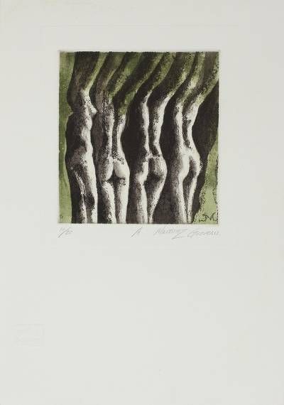 'Sketch IV' - Green Black and White Aquatint Etching of Four Female Nudes