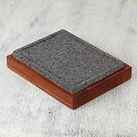 Stone and wood cutting board, 'Stone Chef' - Basalt Stone Cutting Board with Wooden Base from Mexico