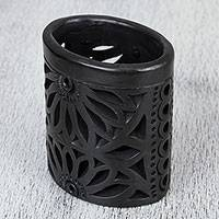 Ceramic pencil holder, 'Oaxacan Ellipse' - Oaxaca Barro Negro Ceramic Oval Pencil Holder