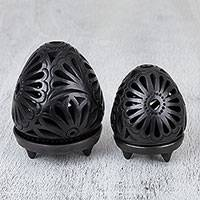 Ceramic tealight candle holders, 'Garden Egg' (pair) - Oaxaca Barro Negro Ceramic Tealight Candle Holders (Pair)