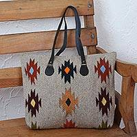 Leather accent Zapotec wool tote, 'Forest Fanfare' - Beige with Earth-Color Geometric Motif Handwoven Wool Tote