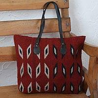 Leather accent Zapotec wool tote, 'Heartland' - Crimson with Ivory and Blue Diamonds Handwoven Wool Tote