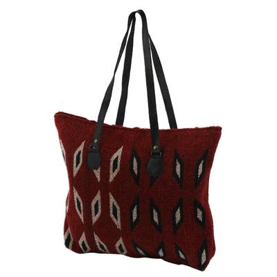 Crimson with Ivory and Blue Diamonds Handwoven Wool Tote
