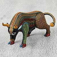 Wood alebrije sculpture, 'Spiritual Bull' - Charging Bull Alebrije Sculpture with Multiple Motifs