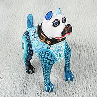 Wood alebrije sculpture, 'Playful Pup' - Hand Carved White with Shades of Blue Patterns Alebrije Dog