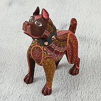 Wood alebrije sculpture, 'Proud Pup' - Hand Carved and Painted in Earthy Color Motifs Alebrije Dog