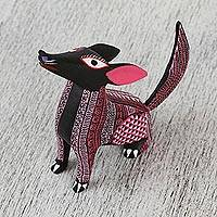 Wood alebrije sculpture, 'Spiritual Coyote' - Alebrije Coyote Sculpture in Pink and Black from Mexico